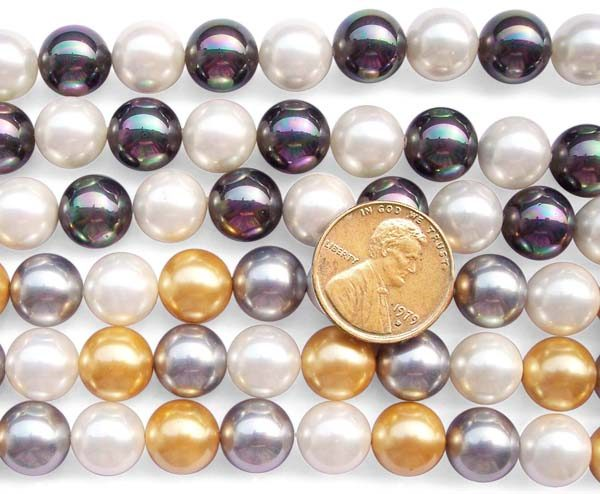 Champagne/Chocolate and White/Black Combination 10mm SSS Pearl Strand