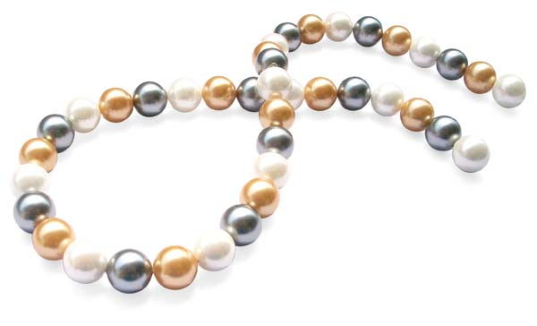 White/Grey/Champagne Combination 10mm SSS Pearl Strand