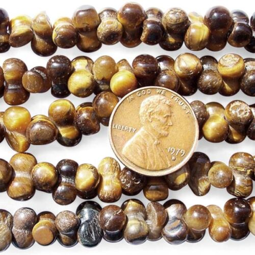 Tiger Eye 6X10mm Beads in Peanut Shape on Temporary Strand