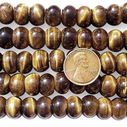 Tiger Eye 8X12mm Rondelle Beads on Temporary Strand