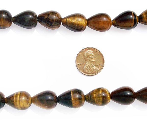 Tigers Eye 12x16mm Drop Shaped Beads on Temporary Strand