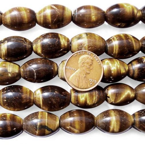 Tiger Eye 13x18mm Beads in Rice Shape on Temporary Strand