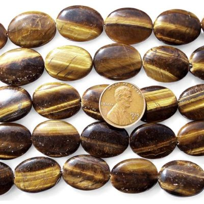 Tiger Eye 15x16mm Flat Oval Shaped Beads on Temporary Strand