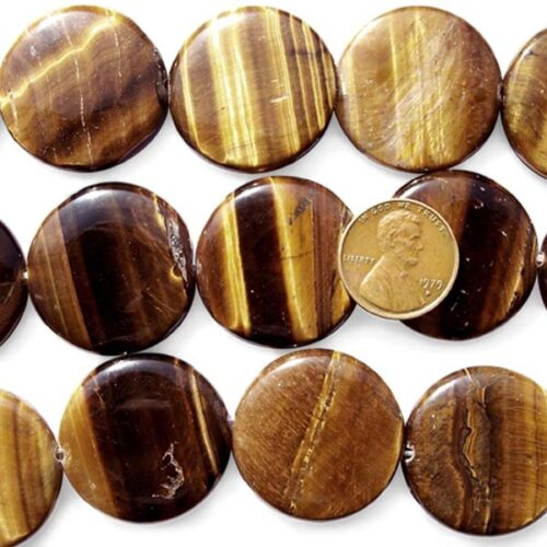 Tiger Eye 26x27mm Flat Round Beads on Temporary Strand