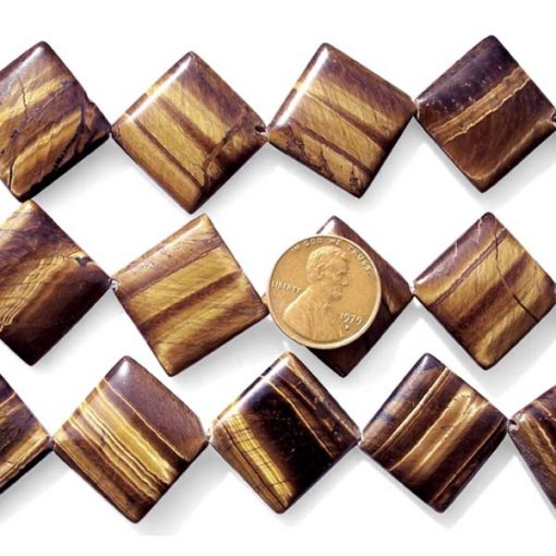Tigers Eye 26x27mm Square Shaped Beads on Temporary Strand, Diagonally Drilled