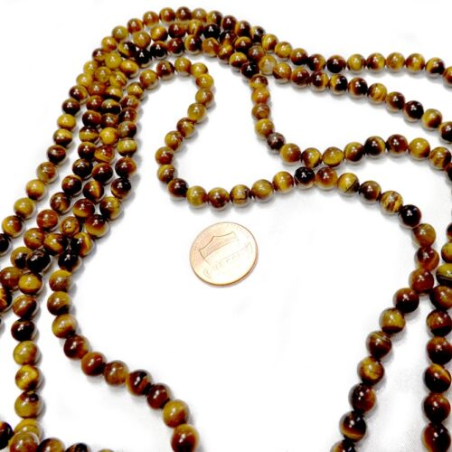 6mm Round Tigers Eye Beads on Temporary Strand