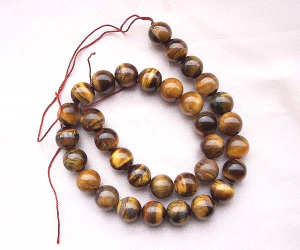 Tiger Eye 12mm Round Beads on Temporary Strand