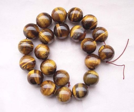 Tigers Eye 18mm Round Beads on Temporary Strand