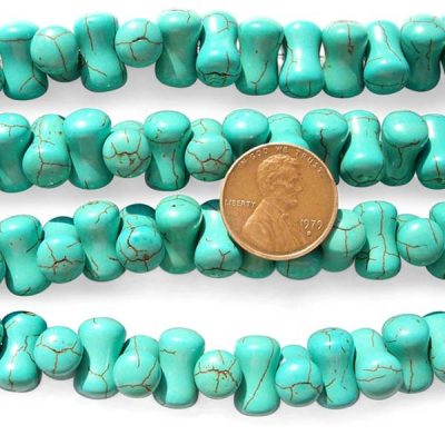 Teal Green 8x14mm Dog Bone Shaped Stabilized Turquoise Beads on Temporary Strands