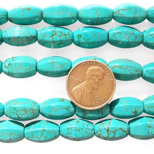 Teal Green 8x14mm Edged Stabilized Turquoise Beads in on Temporary Strands