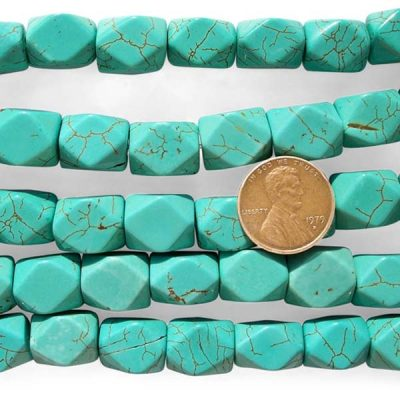 Green Turquoise Beads 10x14mm Faceted Chinese Stabilized on Temporary Strands
