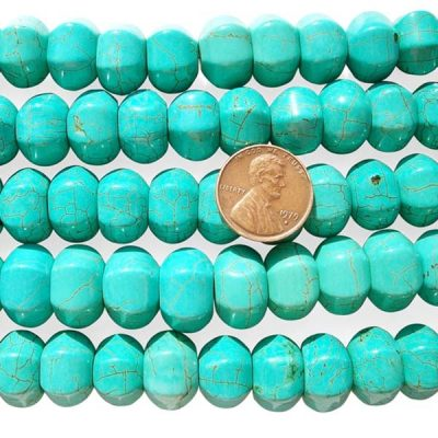Teal Green 10x14mm Lantern Shaped Stabilized Turquoise Beads on Temporary Strands