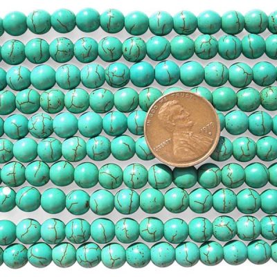 Teal Green 6mm Reconstituted Chinese Turquoise Round Beads on Temporary Strand