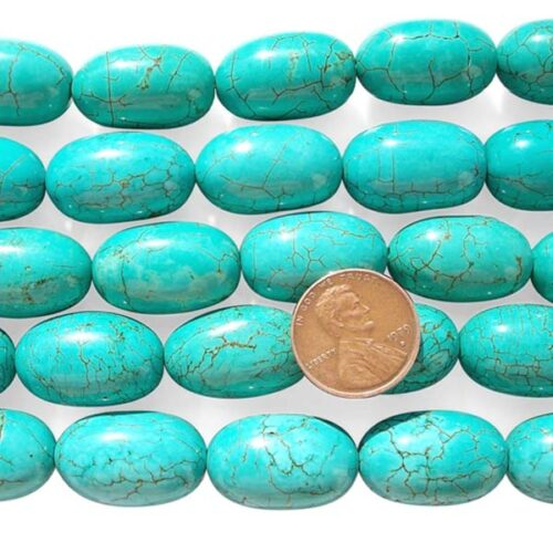Teal Green 15x23mm Stabilized Turquoise Beads in Egg Shape on Temporary Strands