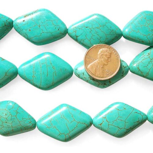Green Turquoise Beads 20x30mm Rhombic 12mm Round Reconstituted on Temporary Strand