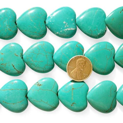 Green Turquoise Beads 25x25mm Heart Shaped Stabilized on Temporary Strands'