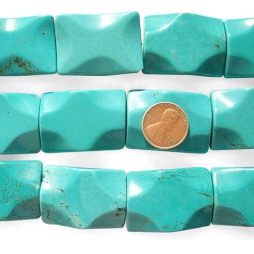 Teal Green 25x35mm Rectangle Stabilized Chinese Turquoise Beads on Temporary Strands