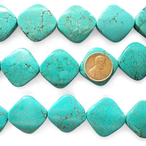Teal Green 26x27mm Square Shaped Turquoise Beads on Temporary Strands, Diagonally Drilled
