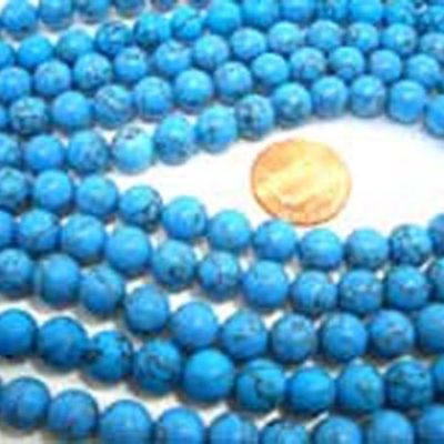 5.5-6.5mm Stabilized Chinese Turquoise Beads on Temporary Strands