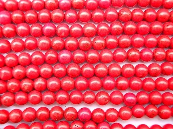 8-8.5mm Stabilized Turquoise Beads in Red