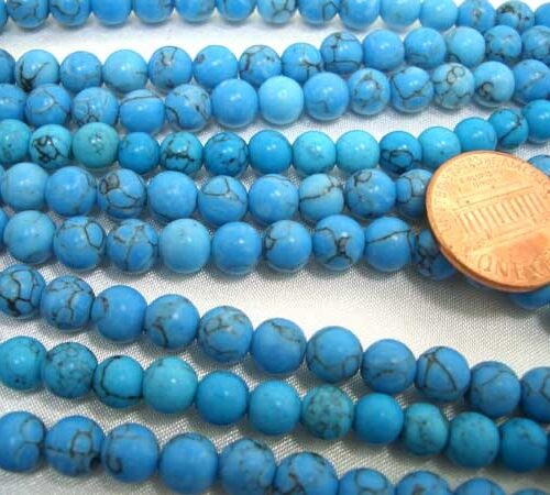 8-8.5mm Stabilized Turquoise Beads in Blue