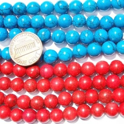 8-8.5mm Stabilized Turquoise Round Beads in Red and Blue colors