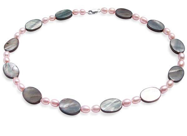 Mauve and White 6-7mm Rice Pearl and Oval Shaped Mother of Pearl Necklace, 925 SS