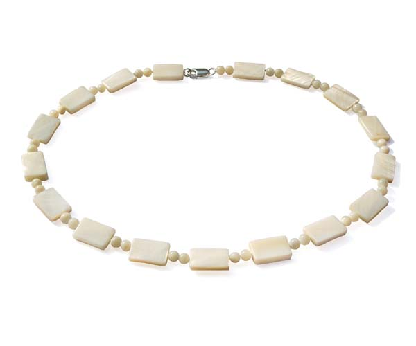 White Rectangular Shaped MOP and Beads Necklace
