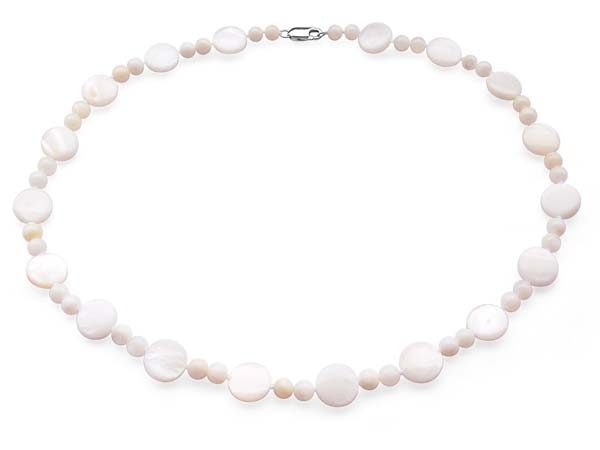 White Small beads alternated with round MOP necklace