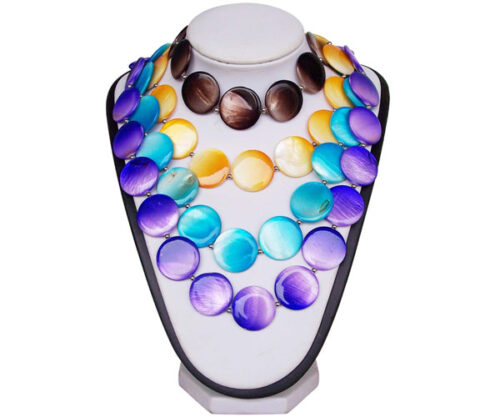 Brown, Gold, Blue and Purple 25mm Mother of Pearl Necklace 24in Long, Magnetic Clasp