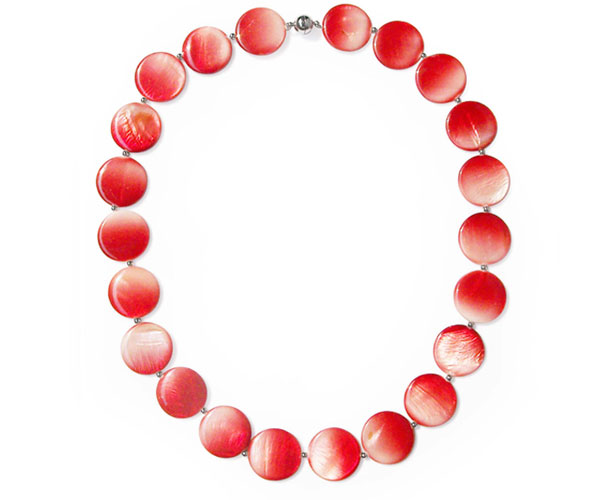 Red 25mm Mother of Pearl Necklace 24in Long, Magnetic Clasp