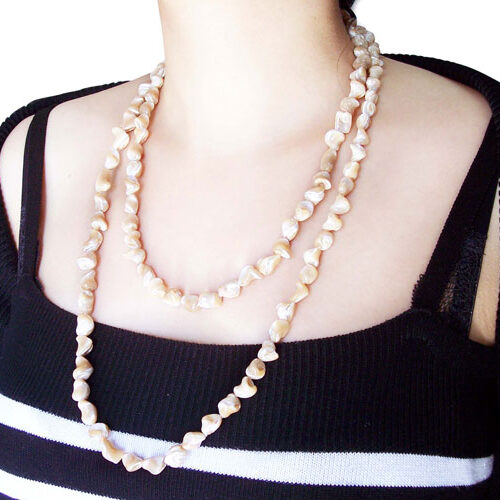 Pink 8-10mm Claspless Irregular Sea Shell Necklace, 48in