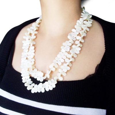 White 8X12mm Claspless Drop Shaped Sea Shell Necklace, 48in