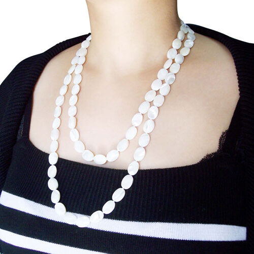 White 10X14mm Claspless Flat Oval Sea Shell Necklace, 48in