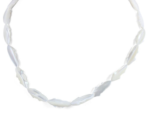 White Sea Shell Claspless Irregular Leaf Shaped Necklace, 48in