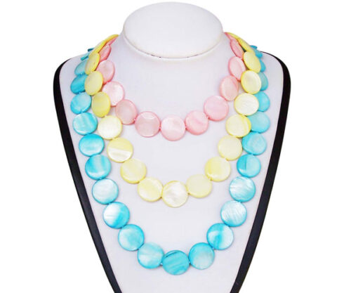 Baby Pink, Light Yellow and Baby Blue Claspless 18mm Mother of Pearl Necklace 48in Long