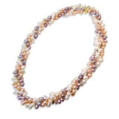 3 Strand Pearl Necklace 22in Long, 14kYG