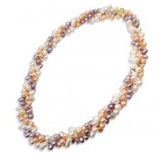 Multi Row Pearl Necklace: 3-Row Multi-Strands Pearl Necklace 22in Long 14k Solid