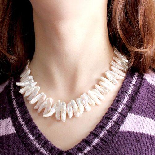White Biwa Pearl Necklace