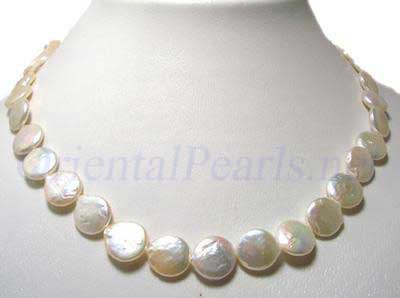 Large 12mm White Coin Pearl Necklace