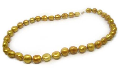 Dark Golden Rod 9-10mm Baroque Pearl Silver Necklace