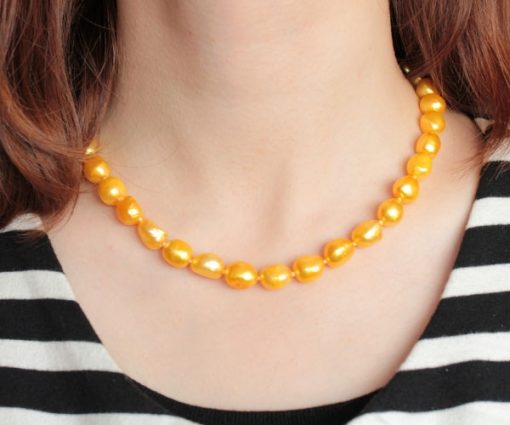 Orange 9-10mm Baroque Pearl Silver Necklace