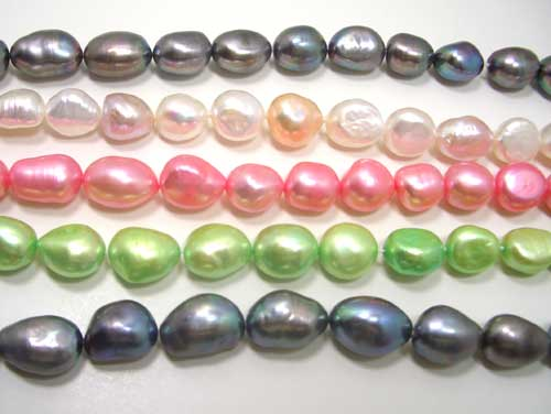 Black, White, Rose Pink and Light Green 10-12mm Baroque High AA+ Quality Pearl Necklace