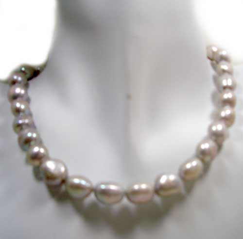 Silver Grey 10-12mm Baroque High AA+ Quality Pearl Necklace