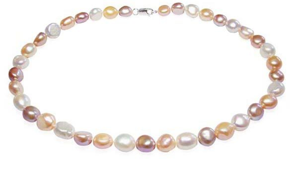 Pink, Mauve and White Pearl Necklace