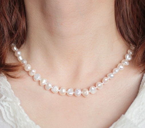 White 8-9mm AA+ Pearls Unique Baroque Pearl Necklace