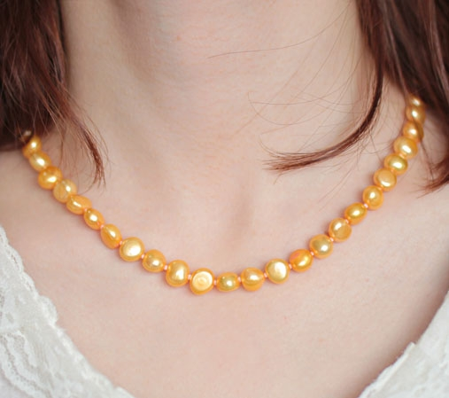 Gold 8-9mm AA+ Pearls Unique Baroque Pearl Necklace