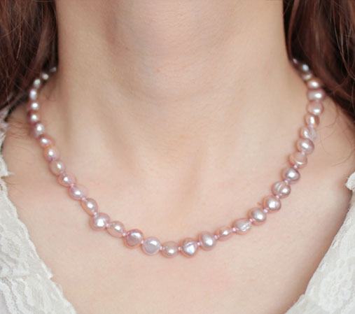 Lavender 8-9mm AA+ Pearls Unique Baroque Pearl Necklace