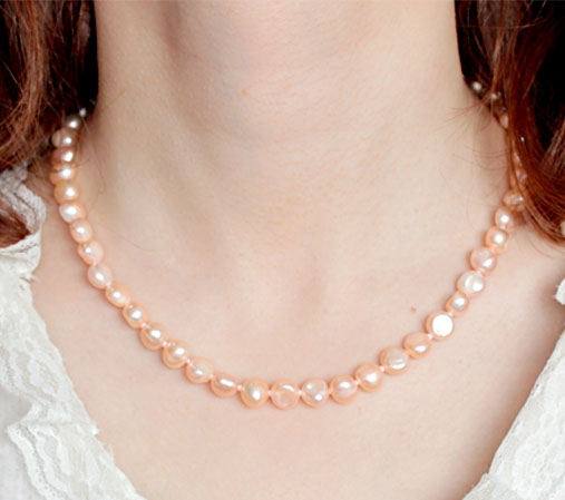 Pink 8-9mm AA+ Pearls Unique Baroque Pearl Necklace