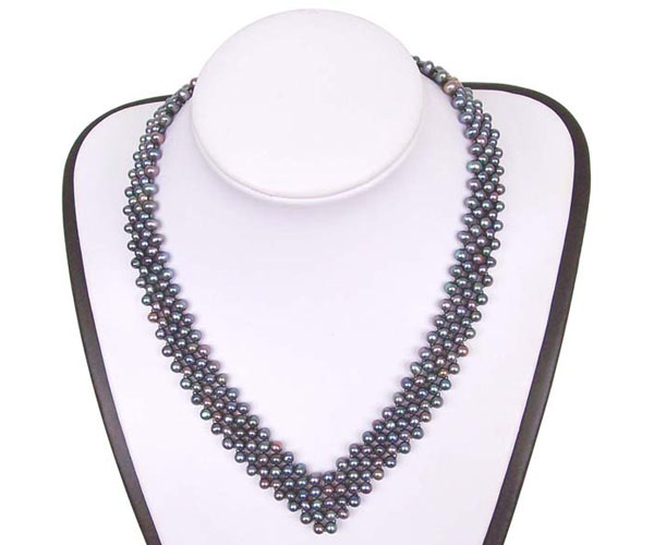 Black 3.5-4.5mm 5 Rows Multi-strand Pearl Silver Choker